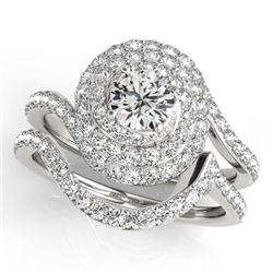 1.67 CTW Certified VS/SI Diamond 2Pc Wedding Set Solitaire Halo 14K White Gold - REF-169X3T - 31295