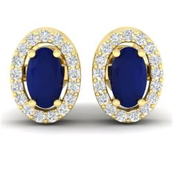 1.02 CTW Sapphire & Micro Pave VS/SI Diamond Earrings Halo 18K Yellow Gold - REF-32A8X - 21194