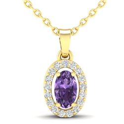 0.36 CTW Amethyst & Micro Pave VS/SI Diamond Necklace Halo 18K Yellow Gold - REF-25H3A - 21312