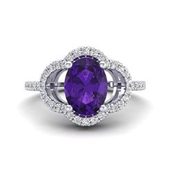 2 CTW Amethyst & Micro Pave VS/SI Diamond Ring 10K White Gold - REF-33W3F - 20970
