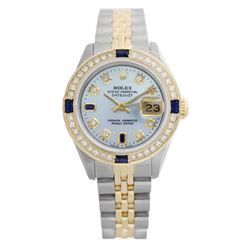 Rolex Ladies Two Tone 14K Gold/SS, Diam/Sapphire Dial & Diam Bezel, Sapphire Crystal - REF-440A7N