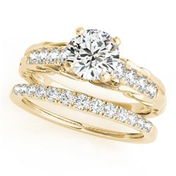 1.29 CTW Certified VS/SI Diamond Solitaire 2Pc Wedding Set 14K Yellow Gold - REF-374A9X - 31651