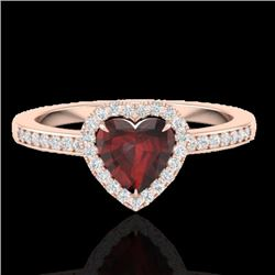 1.20 CTW Garnet & Micro VS/SI Diamond Ring Heart Halo 14K Rose Gold - REF-35W3F - 21405