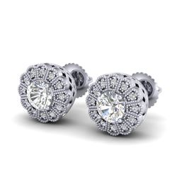 1.32 CTW VS/SI Diamond Solitaire Art Deco Stud Earrings 18K White Gold - REF-245M5H - 37052