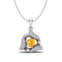 0.40 CTW Citrine & Micro Pave VS/SI Diamond Halo Necklace 18K White Gold - REF-32T9M - 20009