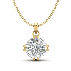 1 CTW VS/SI Diamond Solitaire Art Deco Stud Necklace 18K Yellow Gold - REF-294X2T - 36916