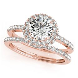 1.25 CTW Certified VS/SI Diamond 2Pc Wedding Set Solitaire Halo 14K Rose Gold - REF-204T2M - 30925