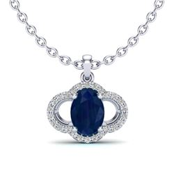 2 CTW Sapphire & Micro Pave VS/SI Diamond Necklace 10K White Gold - REF-30T2M - 20641