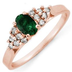0.74 CTW Emerald & Diamond Ring 14K Rose Gold - REF-21W3F - 10106