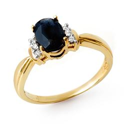 1.05 CTW Blue Sapphire & Diamond Ring 10K Yellow Gold - REF-22X8T - 13737