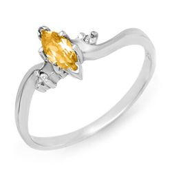 0.29 CTW Citrine & Diamond Ring 14K White Gold - REF-16A9X - 12347