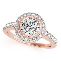 1.5 CTW Certified VS/SI Diamond Solitaire Halo Ring 18K Rose Gold - REF-401K6W - 27022