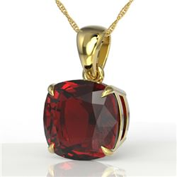 6 CTW Cushion Cut garnet Designer Solitaire necklace 18K Yellow Gold - REF-34M5H - 21984