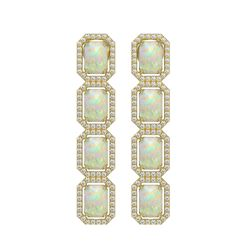 7.93 CTW Opal & Diamond Halo Earrings 10K Yellow Gold - REF-162X2T - 41443