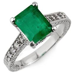 2.75 CTW Emerald & Diamond Antique Ring 14K White Gold - REF-40Y4K - 10627