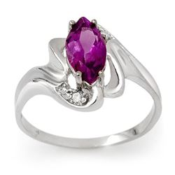 2.62 CTW Amethyst & Diamond Ring 18K White Gold - REF-34M5H - 13512