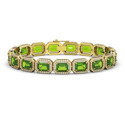 25.41 CTW Peridot & Diamond Halo Bracelet 10K Yellow Gold - REF-365N8Y - 41407