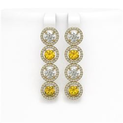 6.18 CTW Canary Yellow & White Diamond Designer Earrings 18K Yellow Gold - REF-887X6T - 42694