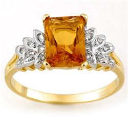 2.12 CTW Citrine & Diamond Ring 10K Yellow Gold - REF-20N2Y - 11366