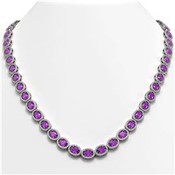 29.38 CTW Amethyst & Diamond Halo Necklace 10K White Gold - REF-503A5X - 40439