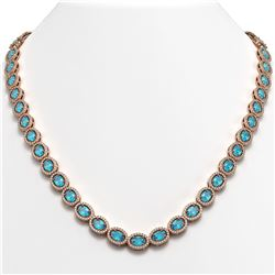 33.25 CTW Swiss Topaz & Diamond Halo Necklace 10K Rose Gold - REF-506K4W - 40434