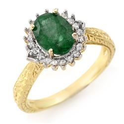 2.75 CTW Emerald & Diamond Ring 18K Yellow Gold - REF-69X3T - 12412