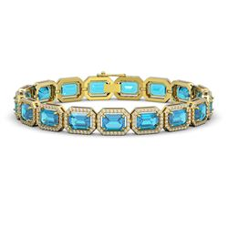 23.66 CTW Swiss Topaz & Diamond Halo Bracelet 10K Yellow Gold - REF-311N3Y - 41413