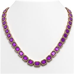 50.99 CTW Amethyst & Diamond Halo Necklace 10K Rose Gold - REF-677Y6K - 41370
