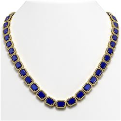58.59 CTW Sapphire & Diamond Halo Necklace 10K Yellow Gold - REF-731X3T - 41338