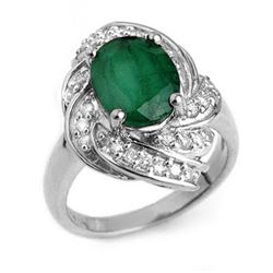 3.29 CTW Emerald & Diamond Ring 18K White Gold - REF-102T2M - 13117