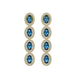 6.28 CTW London Topaz & Diamond Halo Earrings 10K Yellow Gold - REF-104M5H - 40540