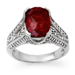 4.75 CTW Rubellite & Diamond Ring 14K White Gold - REF-142X4T - 14095