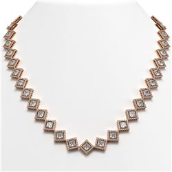 31.92 CTW Princess Cut Diamond Designer Necklace 18K Rose Gold - REF-5920H2A - 42849