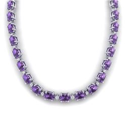 46.5 CTW Amethyst & VS/SI Certified Diamond Eternity Necklace 10K White Gold - REF-226H2A - 29413