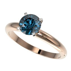 1.25 CTW Certified Intense Blue SI Diamond Solitaire Engagement Ring 10K Rose Gold - REF-179A3X - 32