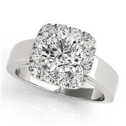 1.55 CTW Certified VS/SI Diamond Solitaire Halo Ring 18K White Gold - REF-433K3W - 26898