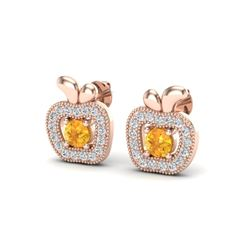 0.61 CTW Citrine & VS/SI Diamond Micro Pave Halo Earrings 14K Rose Gold - REF-30T9M - 20083