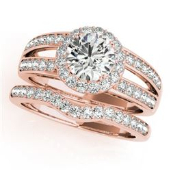 1.91 CTW Certified VS/SI Diamond 2Pc Wedding Set Solitaire Halo 14K Rose Gold - REF-421H6A - 31233
