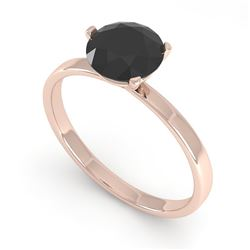 1.0 CTW Black Certified Diamond Engagement Ring Martini 18K Rose Gold - REF-50N2Y - 32231