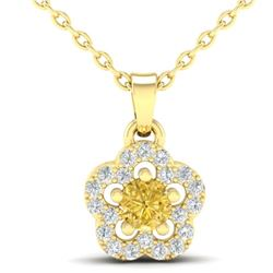 0.33 CTW Citrine & Micro VS/SI Diamond Necklace Moon 10K Yellow Gold - REF-17K3W - 21345