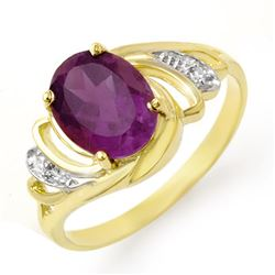 1.48 CTW Amethyst & Diamond Ring 10K Yellow Gold - REF-20K2W - 12677