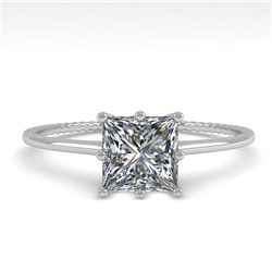 1.0 CTW VS/SI Princess Diamond Solitaire Engagement Ring Size 7 18K White Gold - REF-287H4A - 35895