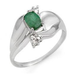 0.39 CTW Emerald & Diamond Ring 10K White Gold - REF-24A2X - 11654