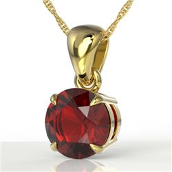 2 CTW Garnet Designer Inspired Solitaire Necklace 18K Yellow Gold - REF-24F9N - 22024