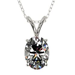 1 CTW Certified VS/SI Quality Oval Diamond Solitaire Necklace 10K White Gold - REF-267F8N - 33192