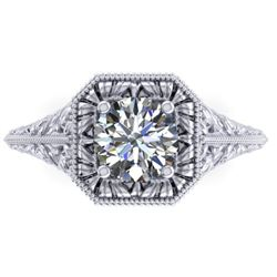 1 CTW Solitaire Certified VS/SI Diamond Ring 14K White Gold - REF-289H6A - 38526