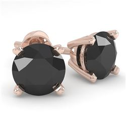 1.0 CTW Black Diamond Stud Designer Earrings 18K Rose Gold - REF-41H6A - 32267