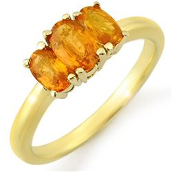 1.18 CTW Orange Sapphire Ring 10K Yellow Gold - REF-18A4X - 10462