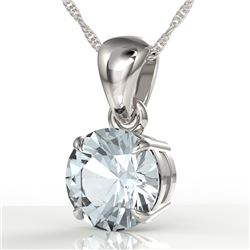 2 CTW Sky Blue Topaz Designer Inspired Solitaire Necklace 18K White Gold - REF-24W9F - 22046