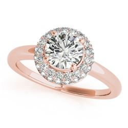 1 CTW Certified VS/SI Diamond Solitaire Halo Ring 18K Rose Gold - REF-185F3N - 26477